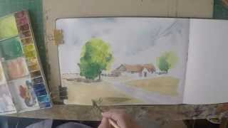 Simple watercolour cottage and tree demo. Step by Step how to paint a simple watercolour