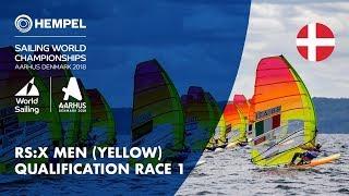 Full RS:X Men Yellow Fleet Qualification Race 1 | Aarhus 2018