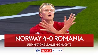 Haaland hat-trick sees off Romania | Norway 4-0 Romania | Nations League Highlights