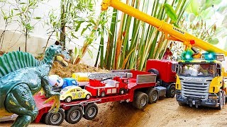 Car Toys with Dinosaurs Play with Excavator Truck Video for Kids