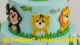 Jungle Cake   Jungle Safari Cake   Animal Birthday Cake   2D Animal Fondant Toppers  