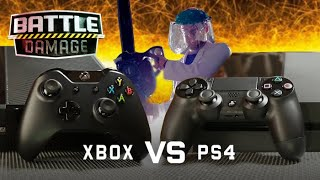 XBOX ONE vs PS4 Durability Test (Loser Gets Chainsaw) with VSauce! | WIRED's Battle Damage - dooclip.me