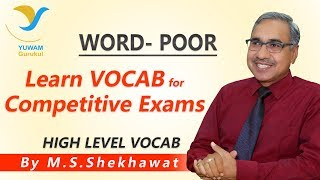 Vocab for Competitive Exams | POOR | Yuwam | High Level Vocab | English | Man Singh Shekhawat