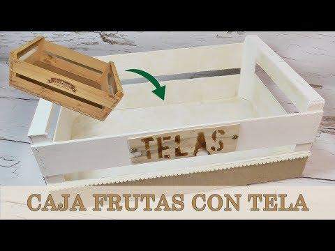 Como forrar una caja de frutas con tela. Caja organizadora