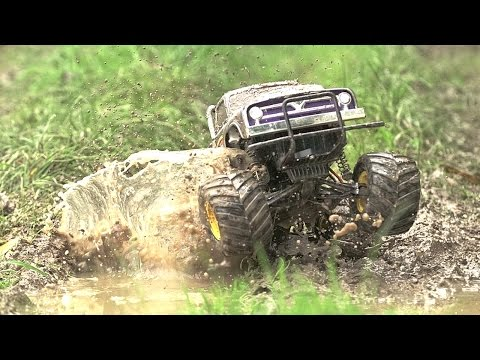Mega RC TRUCK Hits The MUD! Incredible OFFROAD MUD WHEELY Action!!