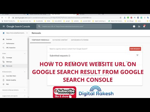 How to remove website url on Google Search result from google search console