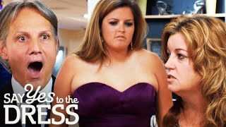 Mother Laughs At Bridesmaid Wearing A Dress Thats Too Small | Say Yes To The Dress Bridesmaids