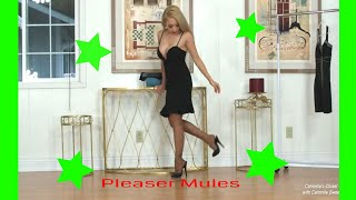Cammiles Closet #65  Pleaser 5 Inch High Heel Mules And Mixed Fashion Slacks And Dress Try On.