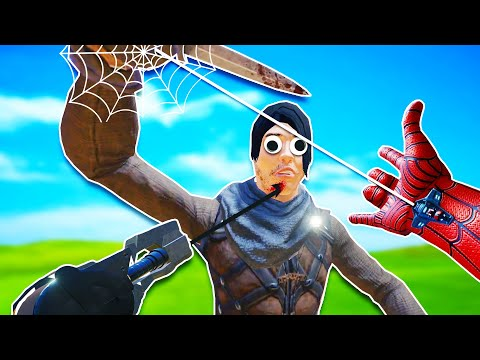 Spider-man's Web and Batman's Grappling Hook vs Dumb Gladiators in Blade and Sorcery VR!