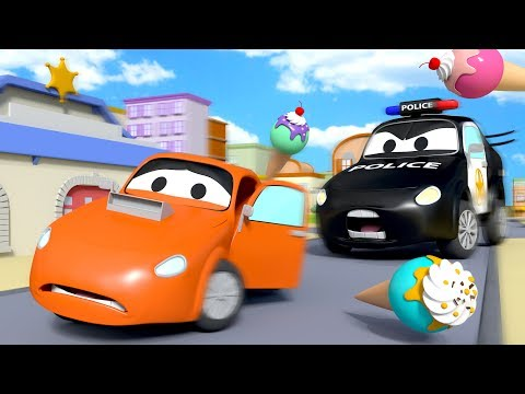 The Car Patrol: Fire Truck and Police Car : Ice Cream Thief in Car City | Cars cartoon for children