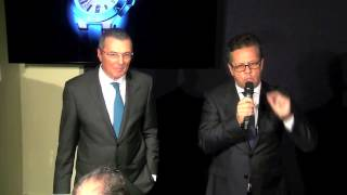 Carlos Moreira and J.C. Babin launching the Bulgari WISeKey Intelligent Watch at BaselWorld2015