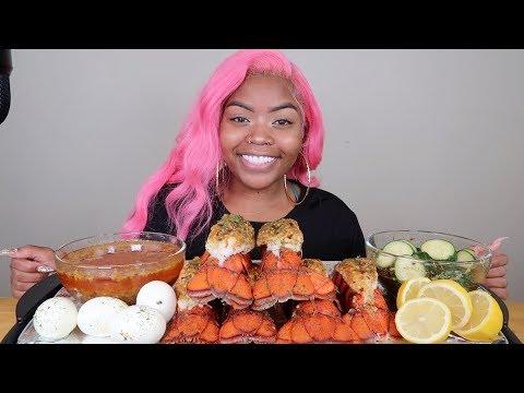 LOBSTER TAILS +  EGGS SEAFOOD BOIL MUKBANG 먹방 EATING SHOW!