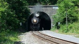 Steam Engine Locomotive Train Coming Through Tunnel on Great Allegheny Passage