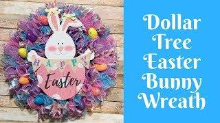 Dollar Tree Easter Crafts: Dollar Tree Easter Bunny Deco Mesh Wreath