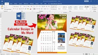 Calendar Design In Ms Word 2019 || How To Make Calendar Design In Ms Word 2019