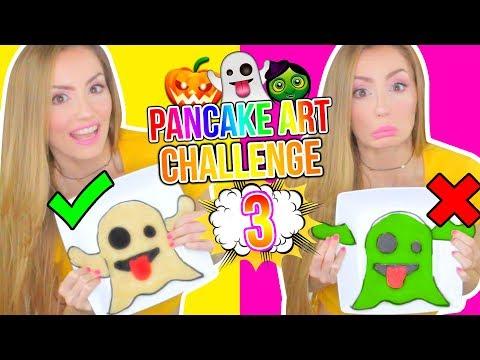 DIBUJOS QUE SE COMEN! 🍭👻 EMOJIS DE HALLOWEEN! PANCAKE ART CHALLENGE 3 | Katie Angel