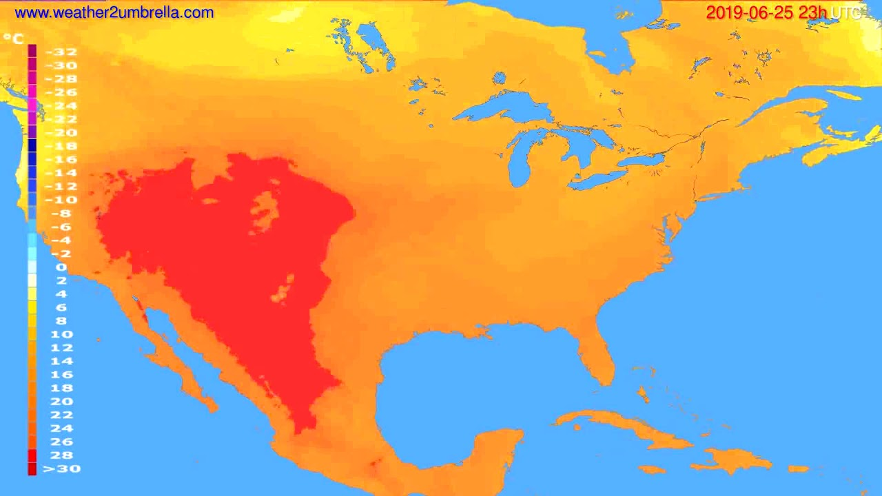 Temperature forecast USA & Canada // modelrun: 12h UTC 2019-06-22