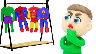 BABY NEW SUPERHERO COSTUME IDEAS 💖 Play Doh Stop Motion Cartoons