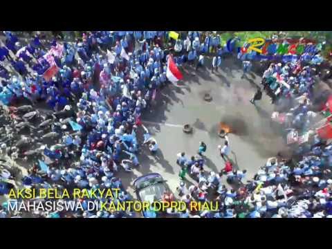 Video dari Udara: Aksi Bela Rakyat Hampir Seribuan Mahasiswa di Gedung DPRD Riau