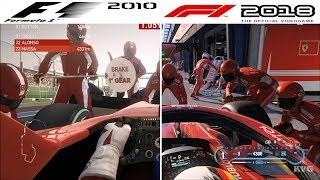 F1 Game Comparison (2010   2018 PIT Stop Gameplay Comparison)