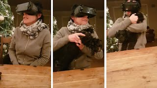 Mum Grabs Dogs Butt While Using VR Headset