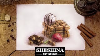 How To Draw Waffles And Chocolate With Soft Pastels 🎨 Food Illustrations