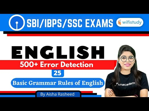 5:00 PM - SBI/IBPS/SSC 2020-21 | English by Aisha Rasheed l 500+ Error Detection