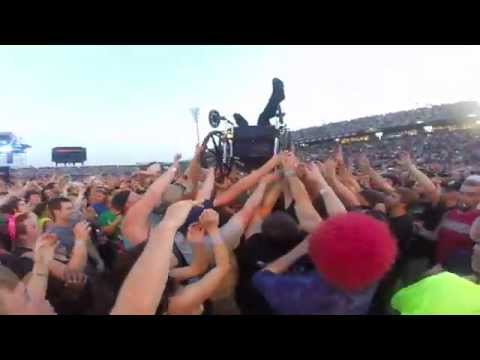 girl crowd surfing during Marilyn Manson at Rock on the Range