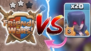 Clash Of Clans  FRIEDNLY WARS Vs 20X WITCHES NEW UPDATE 2016