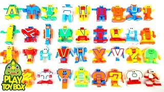 Learning Alphabet ABC AtoZ & Number Names Sounds for kids with Transforming Robot Toys