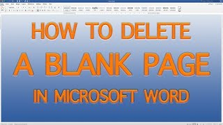 In MS WORD How to delete Extra Pages | Delete a Blank Page in Word ¦ Tutorials for Microsoft Word