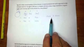 Mozgásos feladatok megoldása egyenlettel