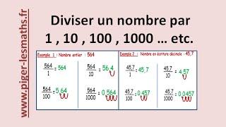 Math 6ème : La Division par ( 1 ; 10 ; 100 ; 1000 ; ... etc )