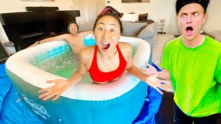I PUT A HOT TUB IN HIS ROOM!!