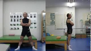 ガニ股状の立ち上がり動作;正面と側面