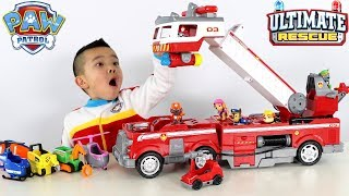 NEW PAW PATROL Ultimate Rescue Fire Truck Toys Unboxing With Ckn Toys