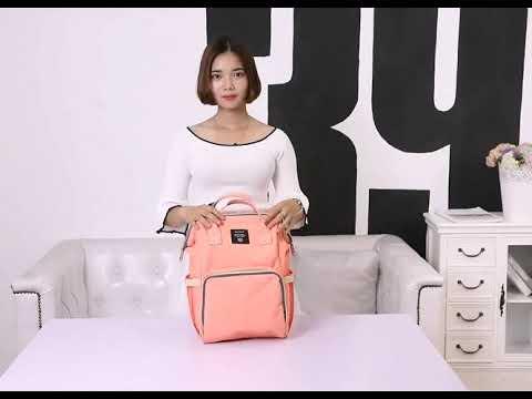 Сумка для коляски / рюкзак для мамы со встроенным USB-портом непромокаемый и многофункциональный LeQeen черный (LQ-21376) Video #1