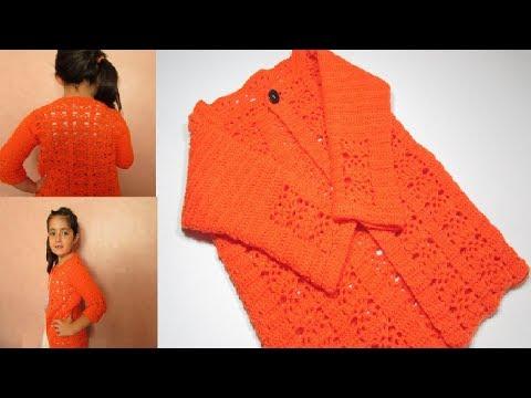 Tejido a crochet cardigan chaleco chaqueta niña 7 años fácil  - Mi Rincón del Tejido