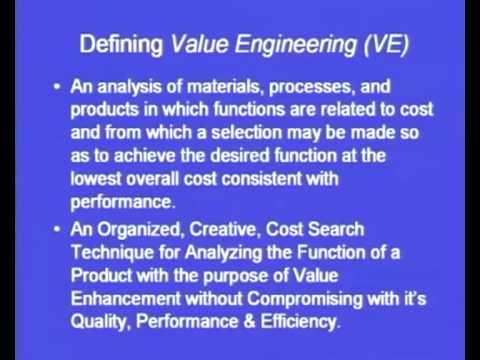 Mod-4 Lec-17 Value Engineering