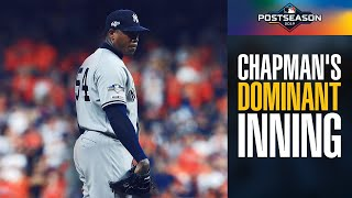 Yankees Aroldis Chapman's DOMINANT 9th inning vs. Astros in ALCS Game 2 | MLB Highlights