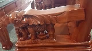 Bộ bàn ghế minh quốc voi gỗ hương đá 8 món cột 12