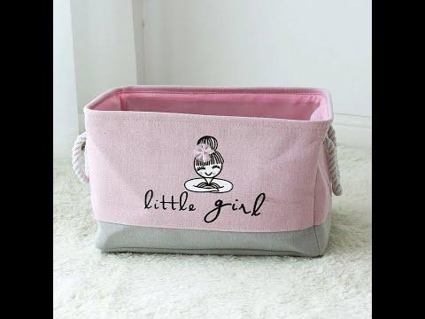 Корзина для игрушек прямоугольная складная из льна Little Girl розовая (SB-28264) Video #1
