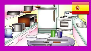 """In the Kitchen"" (Spanish Lesson 15) CLIP – Espanol Learning, Food Words, Cocina Vocabulario, Kid"