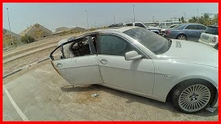 Abandoned BMW 7 series. Abandoned vehicles in Dubai