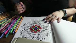 ASMR Mandala Colouring - Felt Tips - Soft Spoken Rambling &  Tapping