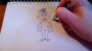 Смотреть онлайн Как нарисовать девочку в платье в полный рост