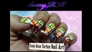 Funky Neon Tartan Nail Art - EJIUBAS The Abstract Lines