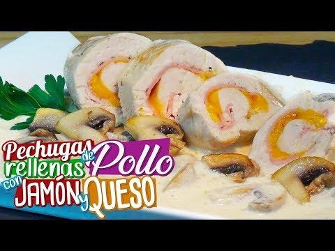 Pechugas de pollo rellenas con jamón y queso en salsa de champiñones  - Recetas paso a paso