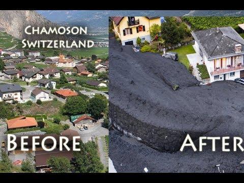 Chamoson mudslide, before and after, Switzerland schlammlawine,  Coulée de boue