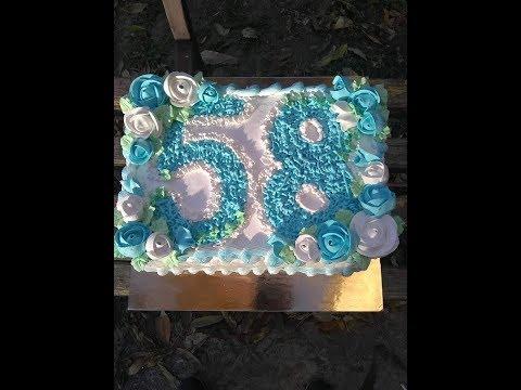 Кремовое украшение торта.Мужчине 58 лет.Торт для папы на день рождения